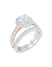 14K White with Rose Gold and Round Halo Diamond Engagement Ring