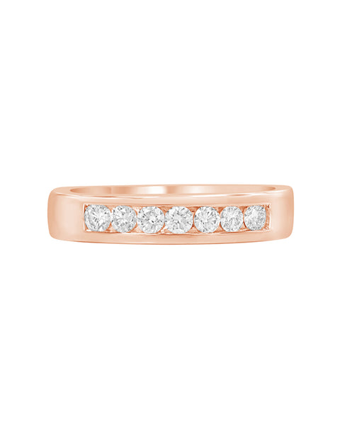 14K Rose Gold and Diamond Wedding Band