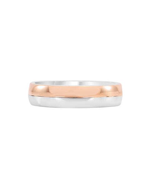 14K White with Rose Gold Wedding Band