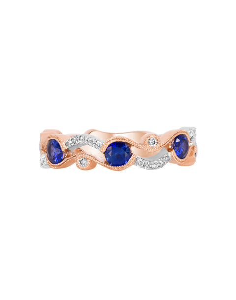 Stackable 14K White with Rose Gold and Diamond with Blue Sapphire Fashion Band