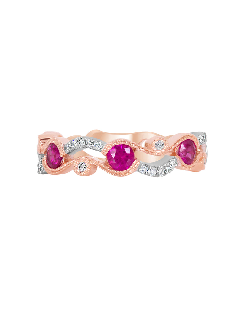 Stackable 14K White with Rose Gold and Diamond with Ruby Fashion Band