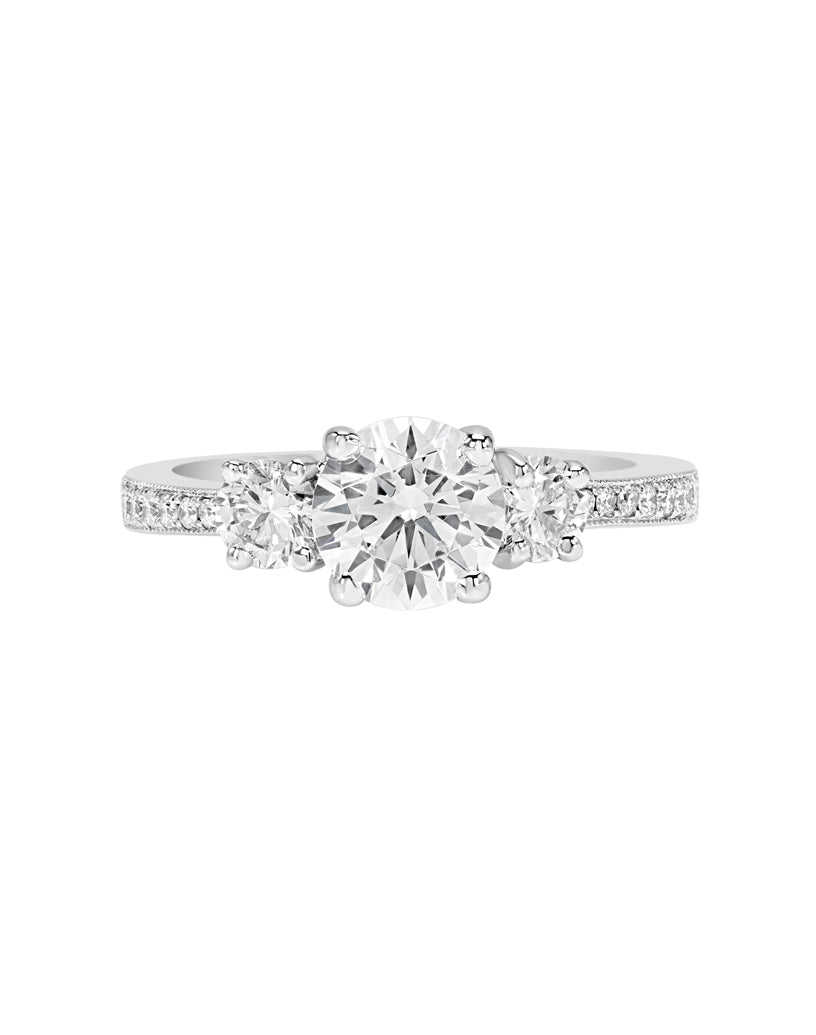 3 Stone 14K White Gold and Diamond Engagement Ring