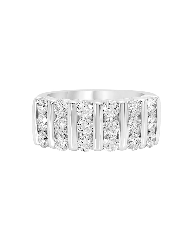 14K White Gold and Diamond Wedding Band