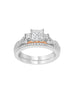 3 Stone 14K White with Rose Gold and Diamond Tesori Infinity Engagement Ring