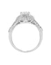 Vintage 14K White Gold and Cushion Halo Diamond Split Shank Engagement Ring