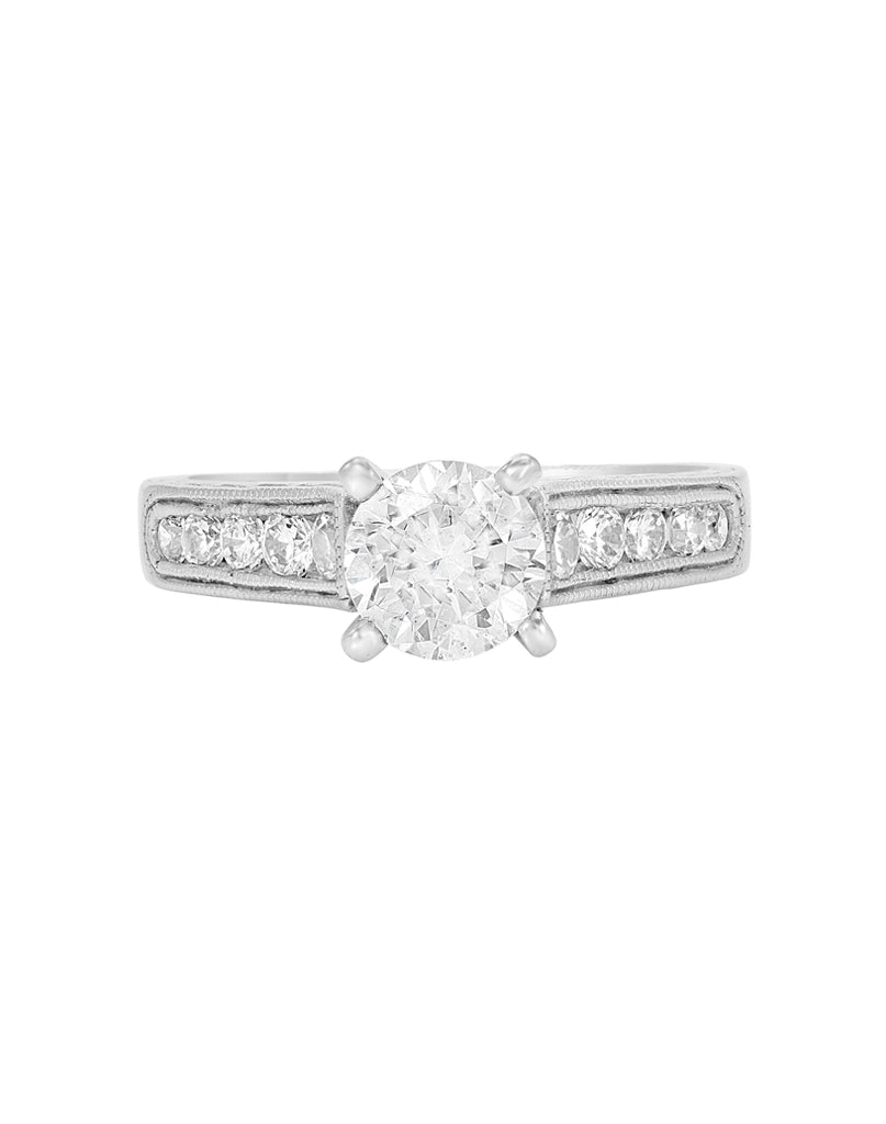 Vintage 14K White Gold and Diamond Engagement Ring
