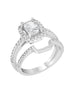 14K White Gold and Halo Diamond Engagement Ring