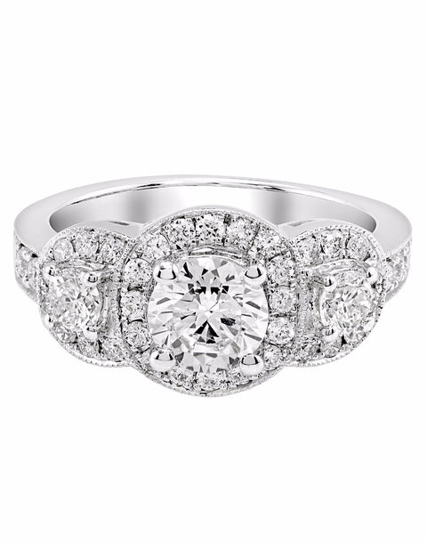 Vintage 3 Stone 14K White Gold and Round Halo Diamond Engagement Ring