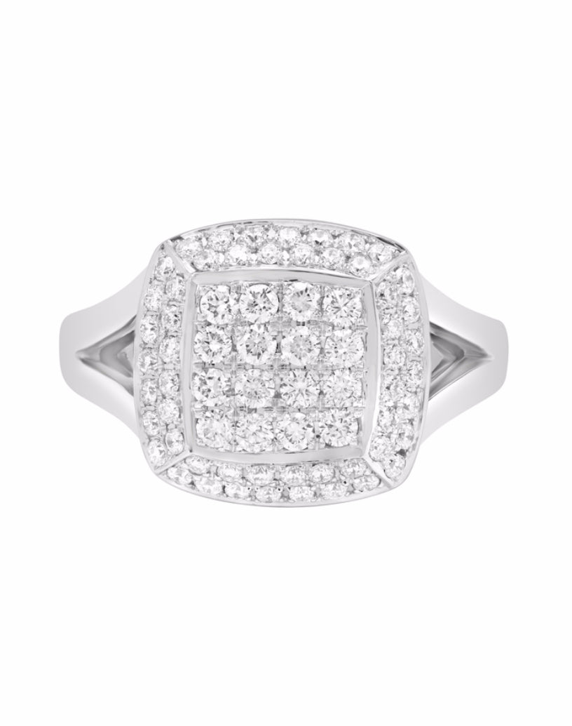 14K White Gold and Cluster Diamond Band
