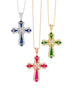 14K White Gold and Diamond with Blue Sapphire Cross Pendant