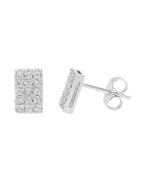 14K White Gold Cluster Diamond Earrings