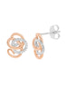 14K White with Rose Gold Cluster Diamond Earrings