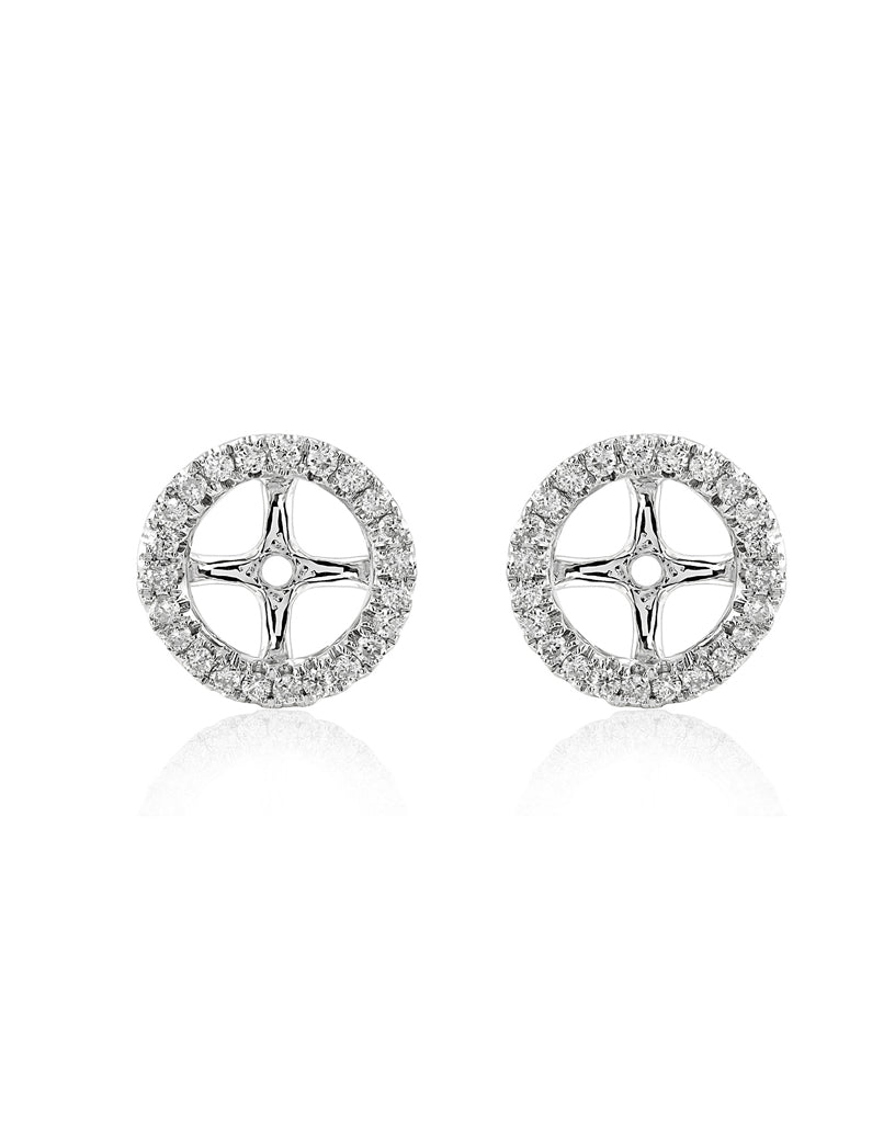 5.80 MM 14K White Gold Diamond Earring Jackets
