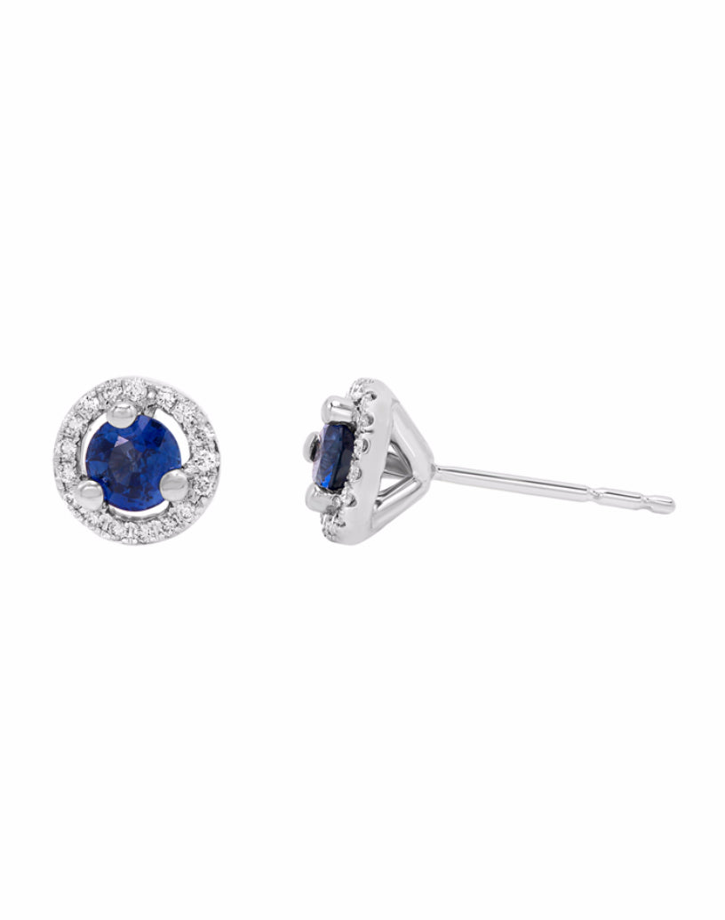 14K White Gold with Blue Sapphire and Diamond Stud Earrings