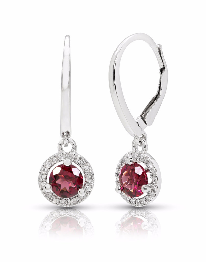 14K White Gold and Rhodolite Garnet with Diamond Drop Earrings