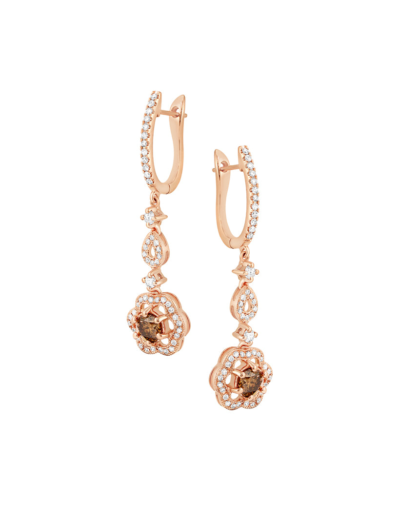 14K Rose Gold Mocha Diamond Drop Earrings