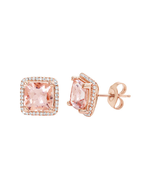 14K Rose Gold with Morganite and Diamond Stud Earrings