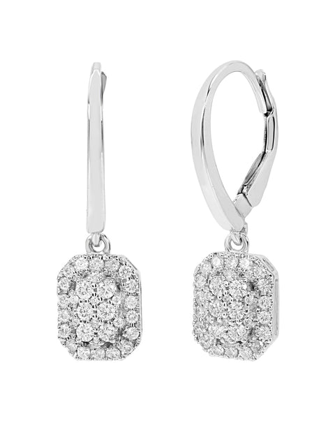 14K White Gold Cluster Diamond Drop Earrings