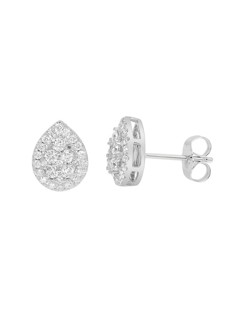 14K White Gold Cluster Diamond Stud Earrings