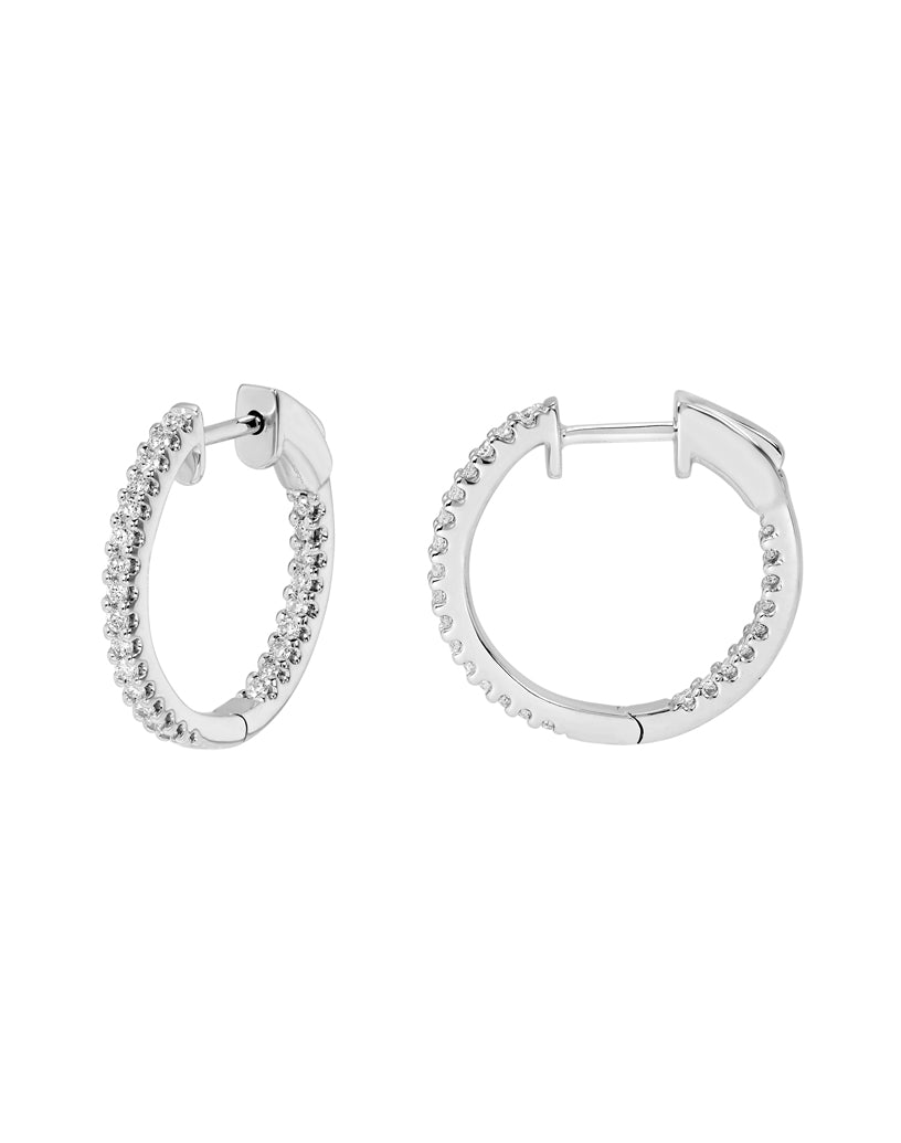 14K White Gold Round Hoop Diamond Earrings