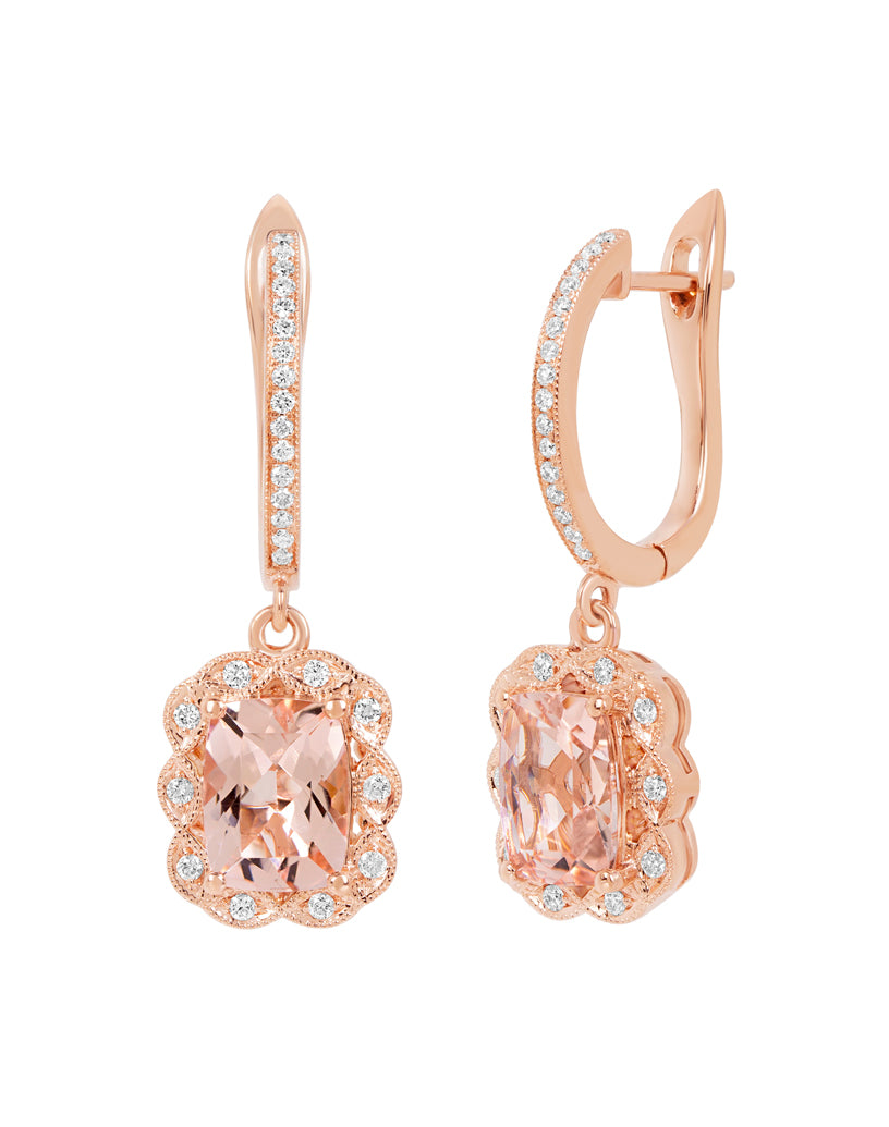 14K Rose Gold with Morganite and Diamond Drop Earrings