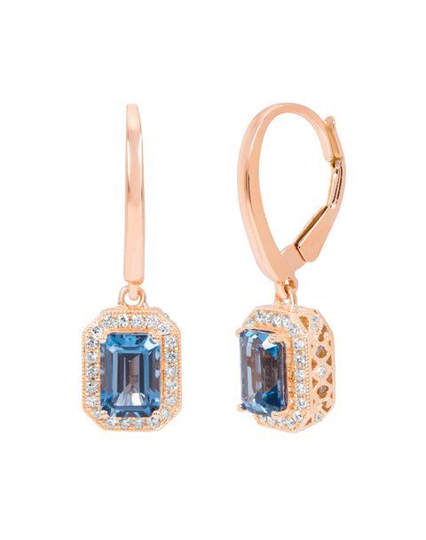 14K Rose Gold with London Blue Topaz and Diamond Drop Earrings