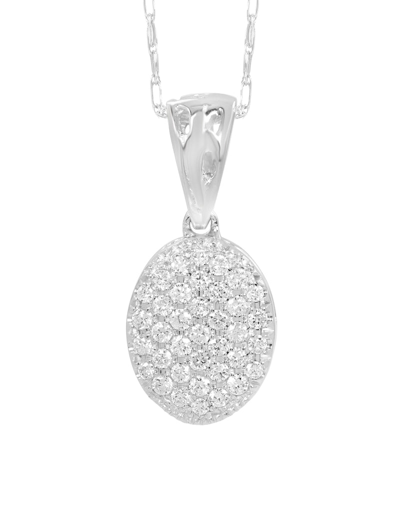 14K White Gold Cluster Diamond Pendant