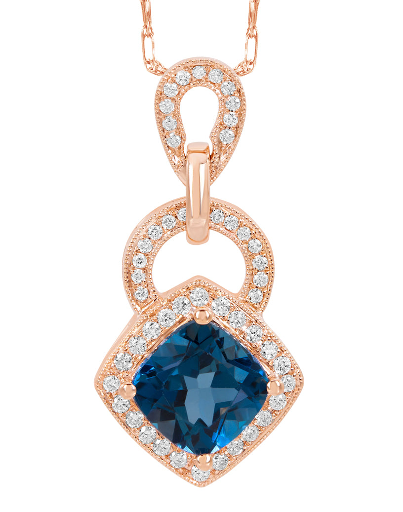 14K Rose Gold with London Blue Topaz and Diamond Pendant