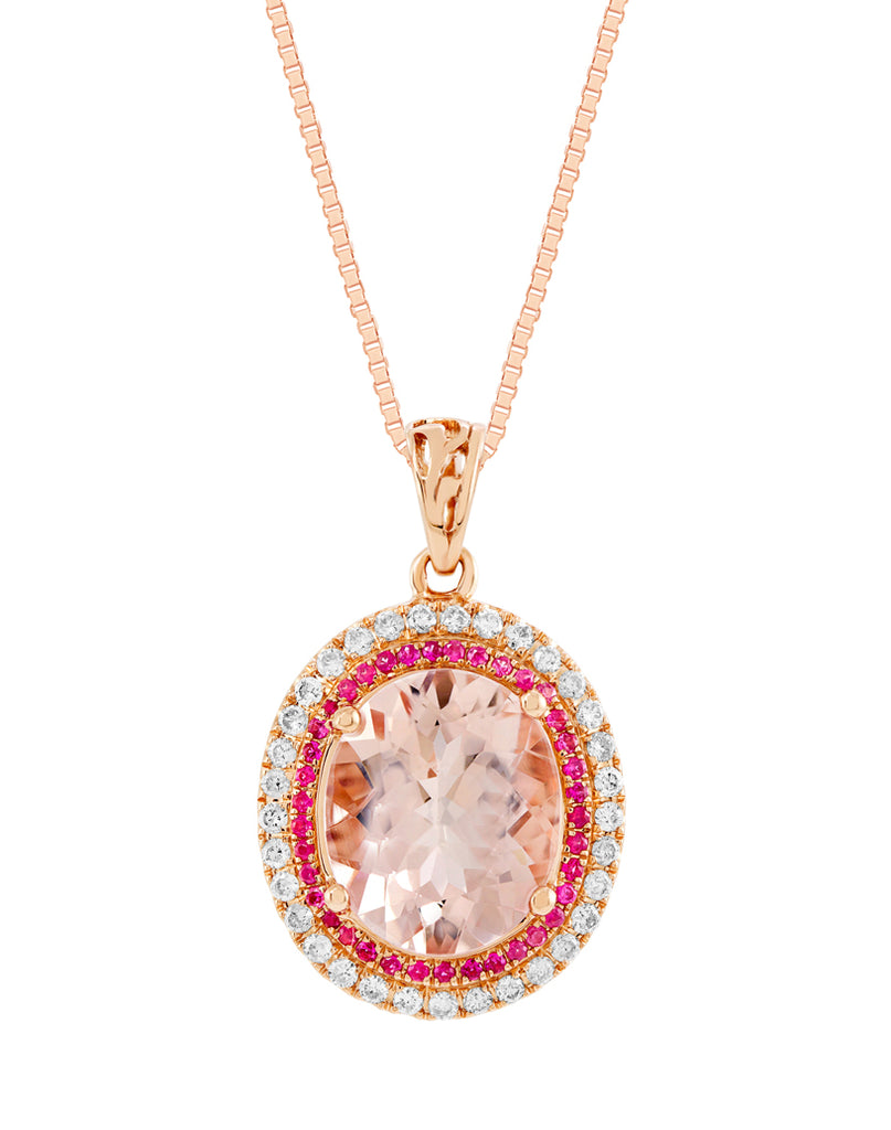 14K Rose Gold Morganite with Pink Tourmaline and Diamond Pendant