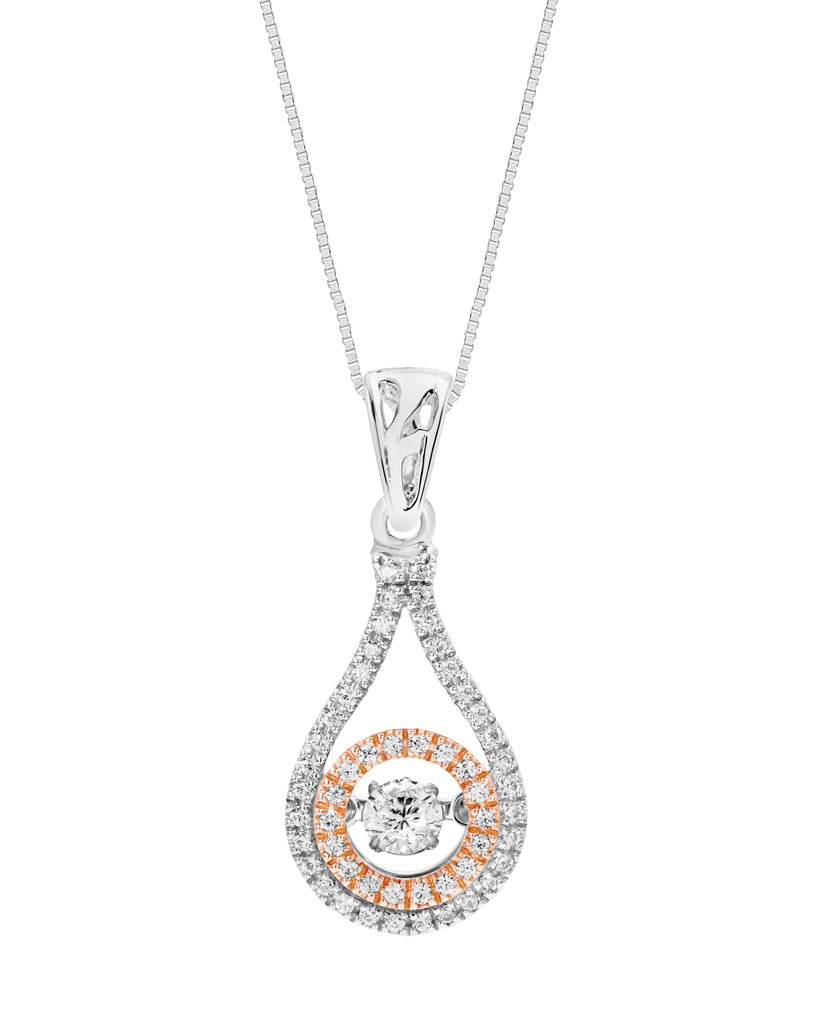 14K White and Rose Gold Diamond Rock 'N' Roll Pendant