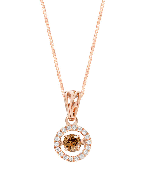 14K Rose Gold Brown Diamond Rock 'N' Roll Pendant