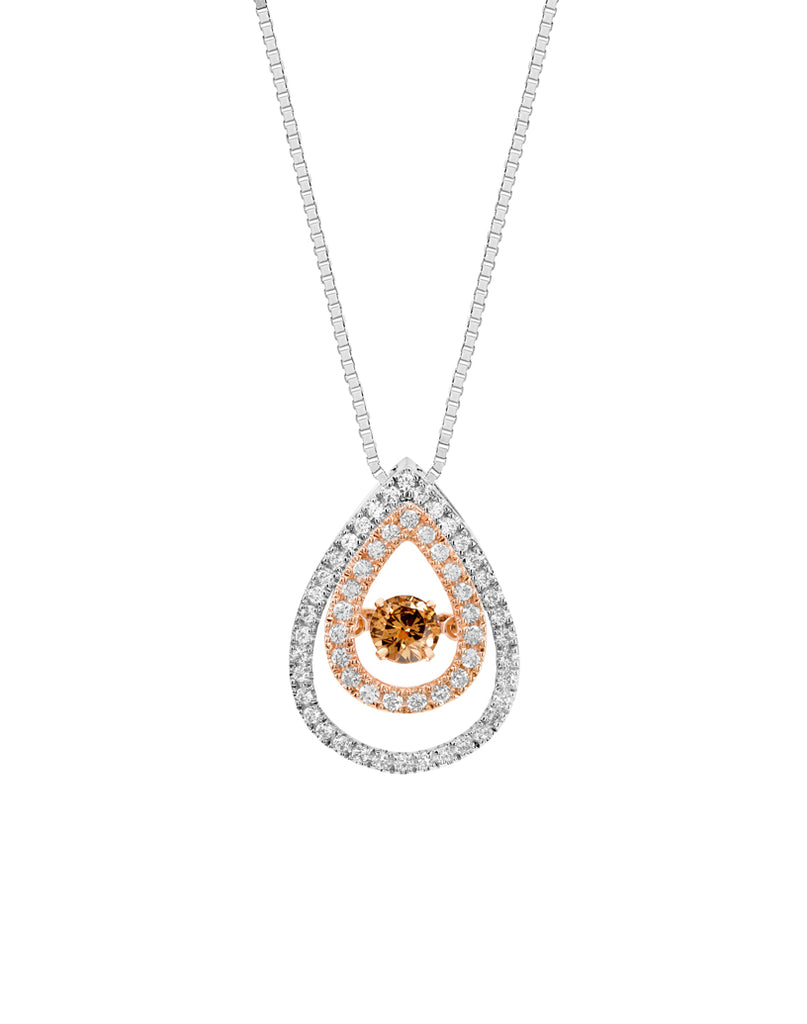 14K White and Rose Gold Brown Diamond Rock 'N' Roll Pendant