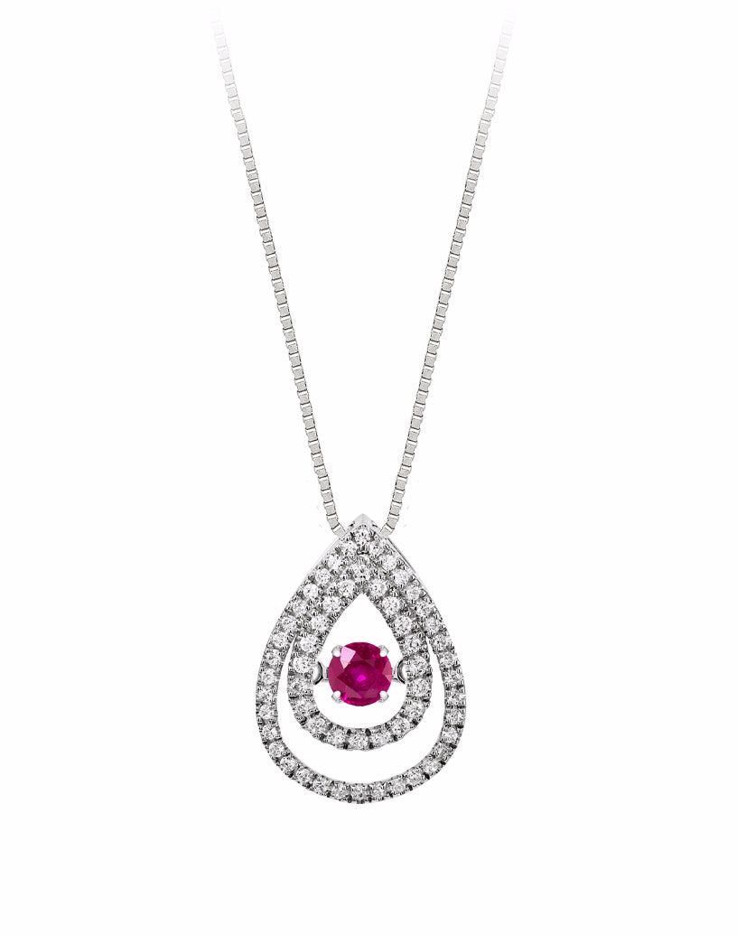 14K White Gold Ruby and Diamond Rock 'N' Roll Pendant