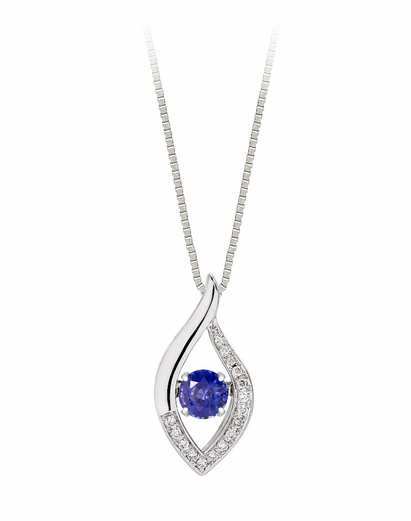 14K White Gold Blue Sapphire and Diamond Rock 'N' Roll Pendant