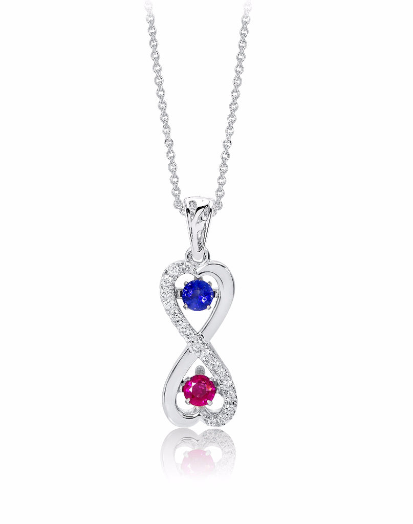 14K White Gold Blue Sapphire and Ruby with Diamond Rock 'N' Roll Pendant