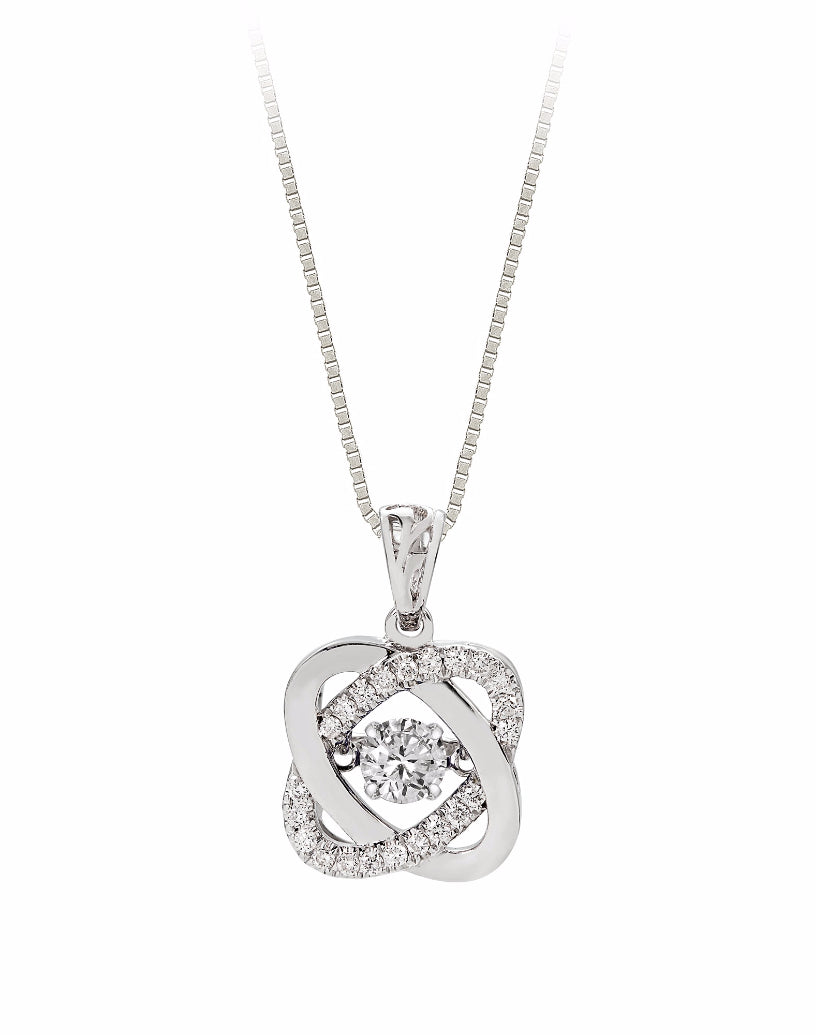 14K White Gold Diamond Rock 'N' Roll Pendant