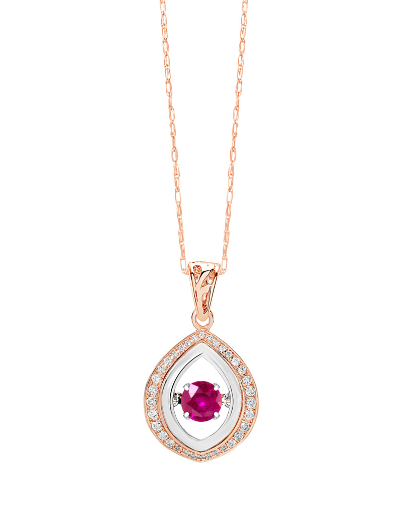 14K White and Rose Gold Ruby and Diamond Rock 'N' Roll Pendant