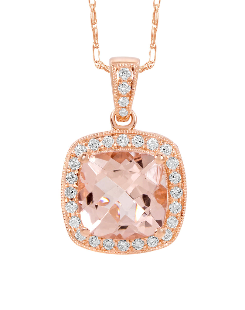 14K Rose Gold Morganite and Diamond Pendant
