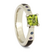 14K White Gold Peridot, Aquamarine and Amethyst Ring with Hardwood