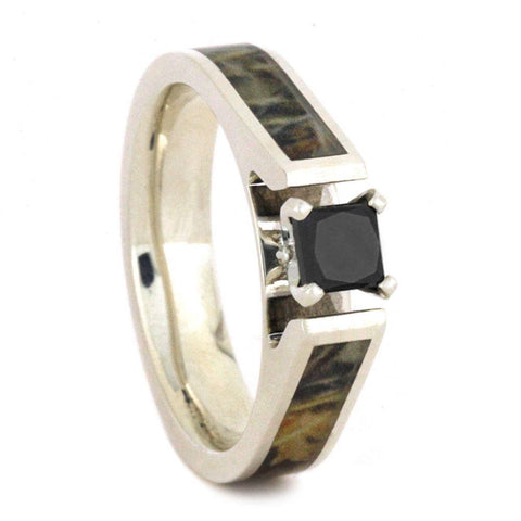 Sterling Silver Black Diamond and Camo Inlay Engagement Ring