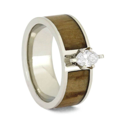 14K White Gold Diamond and Hardwood Ring Custom Made