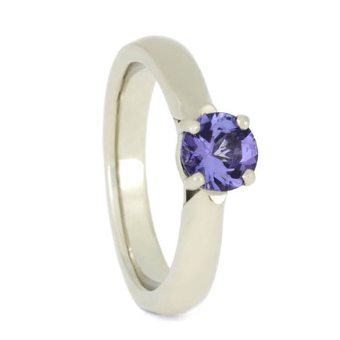 14K White Gold Tanzanite and Diamond Engagement Ring