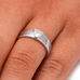 Sterling Silver Damascus Steel and Cubic Zirconia Engagement Ring