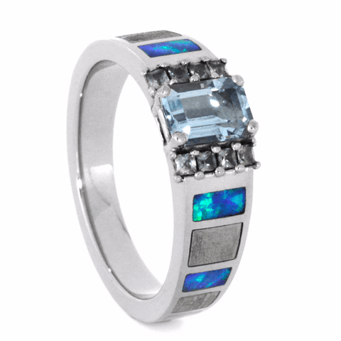 14K White Gold Aquamarine Opal and Sapphire Ring with Meteorite Custom Made