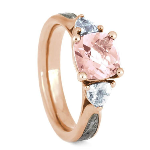 14K Rose Gold Morganite, Diamond and Meteorite Engagement Ring