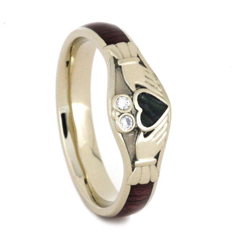 14K White Gold Jade Claddagh Heart Celtic Hardwood Ring