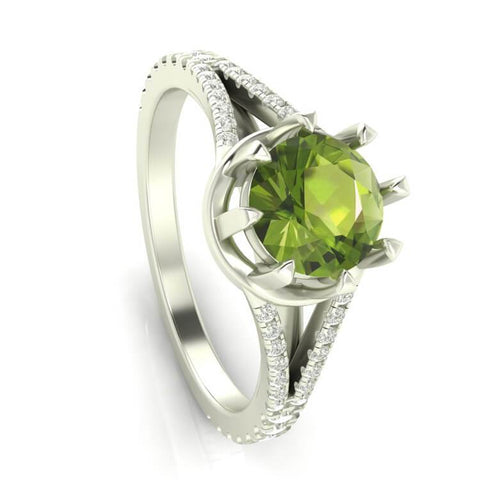 14K White Gold Peridot and Moissanite Engagement Ring