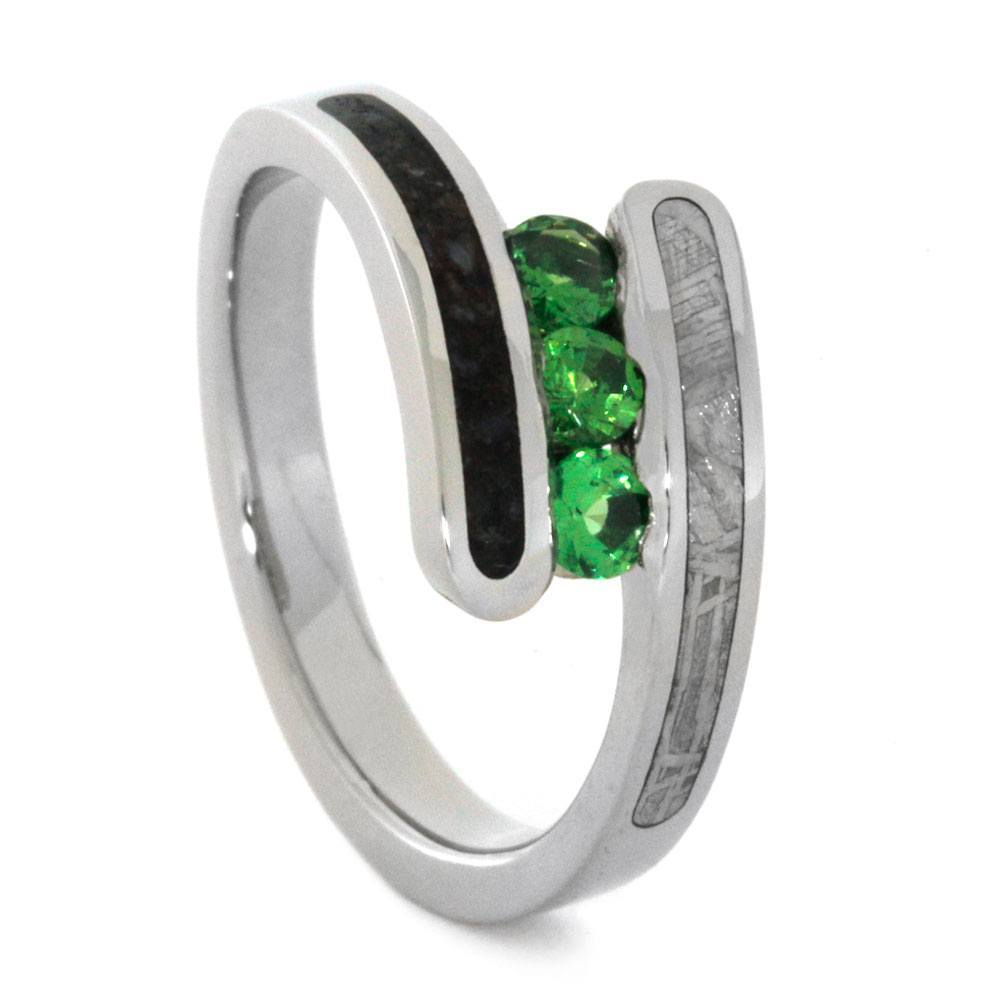 14K White Gold Tsavorite Garnet Ring with Meteorite and Dinosaur Bone