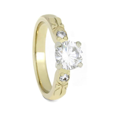 14K Yellow Gold Moissanite and Diamond Engagement Ring