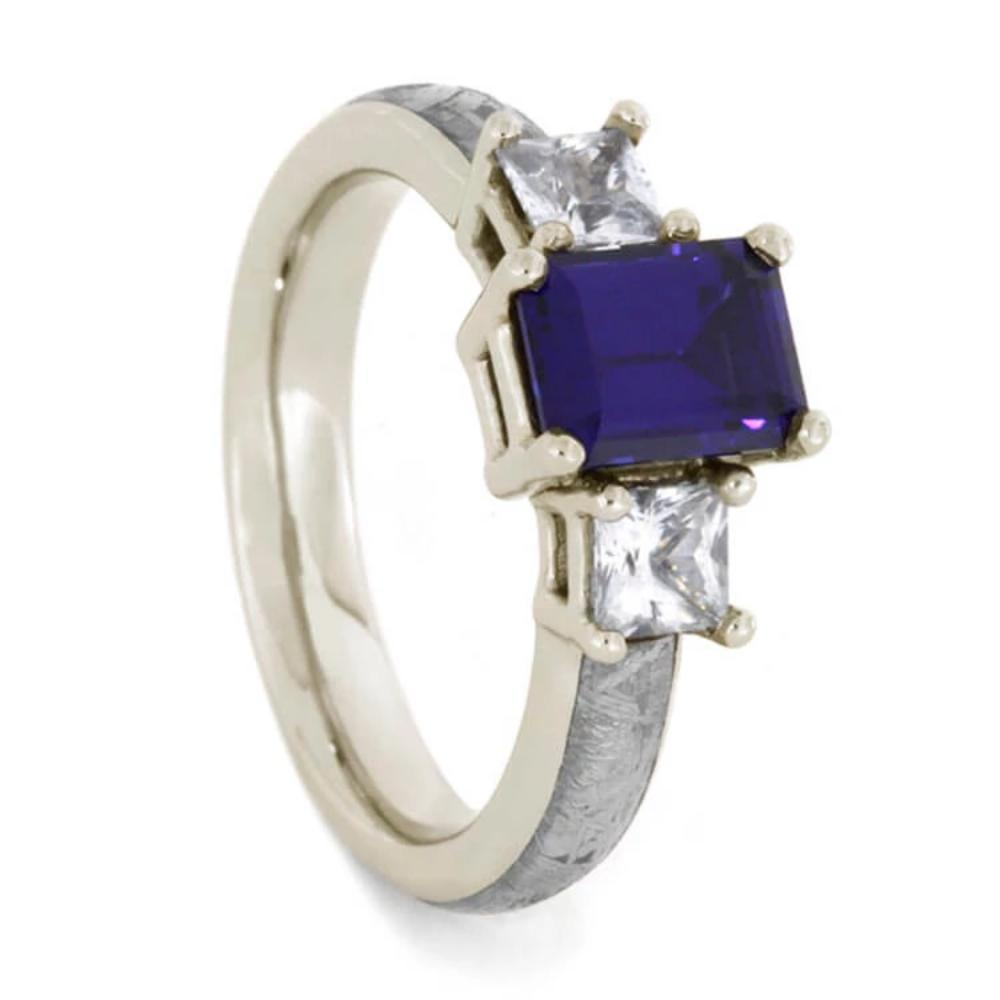 14K White Gold Sapphire and Meteorite Engagement Ring